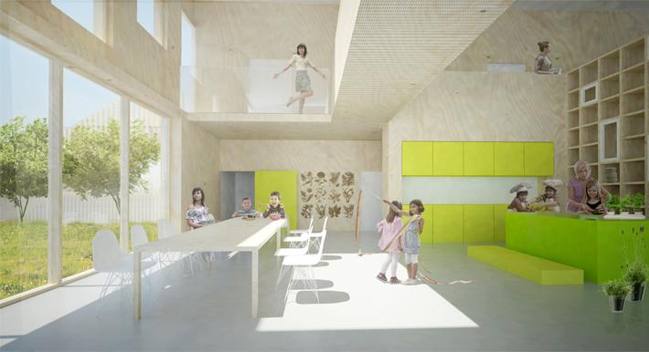 Kindergarten Plan Elevation Section : Prinsessegade kindergarten leth gorileth gori