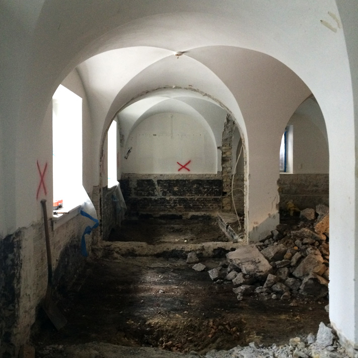 Demolition work in the basement of Stormgade 18. This is the future school classroom and workshop
