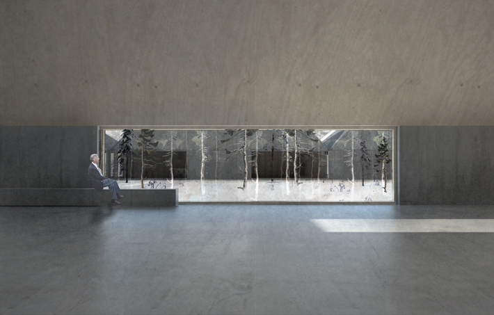 Interior - exhibition space looking towards courtyard