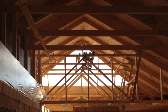 All wood roof construction